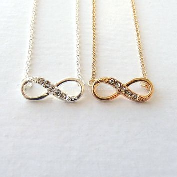 Diamond Infinity Necklace - Gold & Silver - Infinite love, Forever love, and Friendship pendant necklace