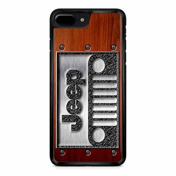 Embossed Steel Jeep Logo On Wood iPhone 8 Plus Case