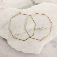 Olivia Hexagon Gold Earrings