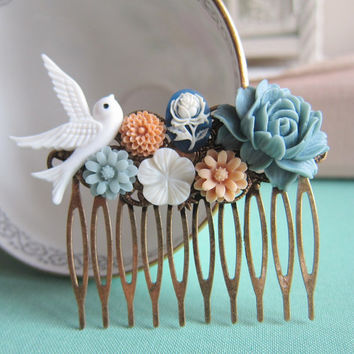 Wedding Hair Comb Dusty Blue White Fall Winter Bridesmaids Gift Bridal Hair Piece Floral Head Piece Bird Flowers Vintage Inspired Fall Trend
