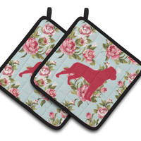 Rottweiler Shabby Chic Blue Roses   Pair of Pot Holders BB1083-RS-BU-PTHD