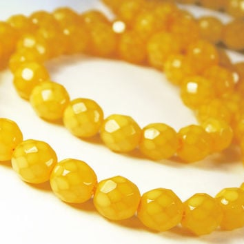 20 Pcs - 8mm Czech Glass Fire Polished Beads - Opal Luster - Mustard Yellow - Faceted Round - Jewelry Supplies