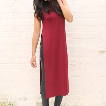 Side Split Longline Turtle Neck Vest Top in Burgundy