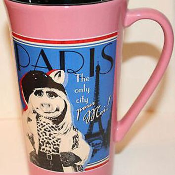 Licensed cool NEW Disney Store Muppets Movie Miss Piggy PARIS Tall PINK Coffee Mug Latte Tea