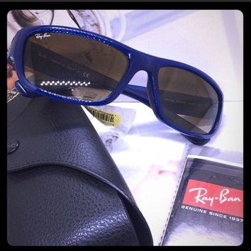 Kalete New authentic Ray Ban Mens Sunglasses blue made Italy