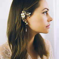 Cream Pearl Flower Curling Gold Vine Ear cuff and Floral Pearl drop earring