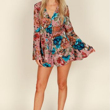 Floral Print Drawstring Romper Dusty Pink