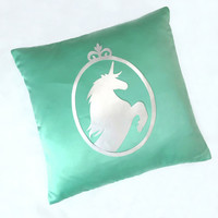 Silver Unicorn Mint Green Decorative Pillow Cover. Fairy Tale Cushion