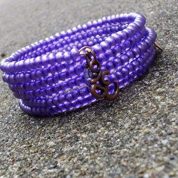 Metallic Purple Wrap Bracelet, Memory Wire Bracelet, Czech Beaded Bracelet