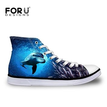 FORUDESIGNS 2017 Stylish Men's High Top Canvas Shoes Autumn Flat Vulcanize Shoes Blue Sea World 3D Animals Printed Lace-up Shoes