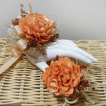 Rustic Orange Autumn Fall Wrist Corsage and/or Boutonniere, Sola Flowers, Rustic Burlap Country Wedding. Made to Order.
