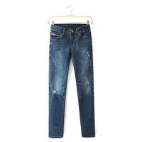 Jeans Zippers Decoration Skinny Pants [6514108743]