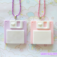 Floppy Disk Necklace Pastel Kawaii by GeekSugarPuffs on Etsy