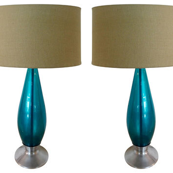 Blue Glass Table Lamps, Pair