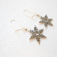 Snowflake Earring - Silver Snowflake Earrings - Seasonal Jewellery