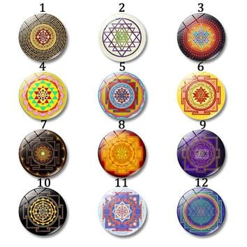 Buddhist Spiritual Jewelry# Sri Yantra Glass Cabochon Round# Photo Cameo Cabochon#