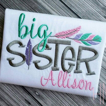 Big Sister - Feather Theme -Embroidered Shirt