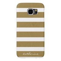 Modern Gold/White Stripes, Add your name