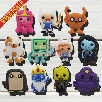 Novelty High quality 11pcs Adventure Time cartoon PVC Shoe Charms shoe decoration For bands bracelets JIBZ kids party favor