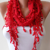 Red Lace Shawl / Scarf with Lace Edge with Leaves by SwedishShop