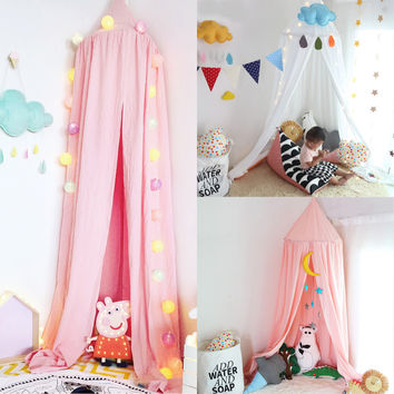 Elegant Round Cotton Bed Canopy Children's Bedroom Anti-mosquito Curtain Hung Dome Home Furniture