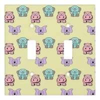 Elephants and Hippos Light Switch Cover