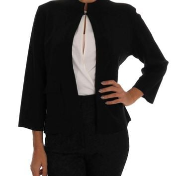 Black Wool Sweater Cape Jacket
