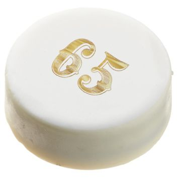65th Anniversary 65 Birthday Gold White Cookie