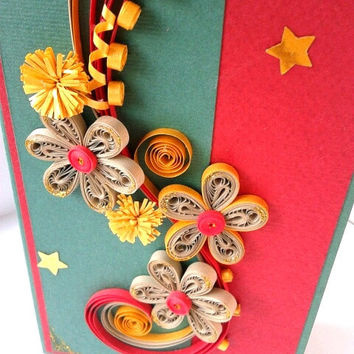 Unique handmade Christmas card, Red and Green