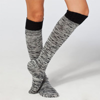 Crochet Top Womens Knee Hi Socks Black/White One Size For Women 22281212501