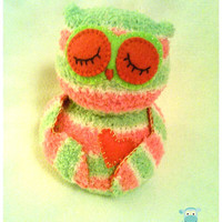 Plush Owl, Pink and Green Sock Owl, Stuffed Animal, Sock Animal, Baby Shower, Nursery Gift