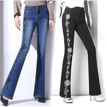 Autumn Rose Embroidered Jeans