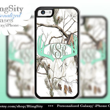 Mint Antlers Monogram Iphone 5C case Browning iPhone 5s iPhone 4 case Ipod 4 5 case White Camo Deer Personalized Country Inspired Girl