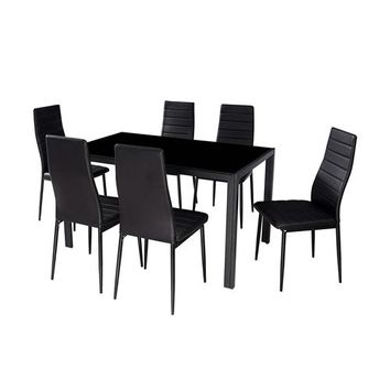 Modern 7-Piece Dining Set with Glass Top Table and 6 Chairs in Black (Free shipping within the contiguous U.S.)