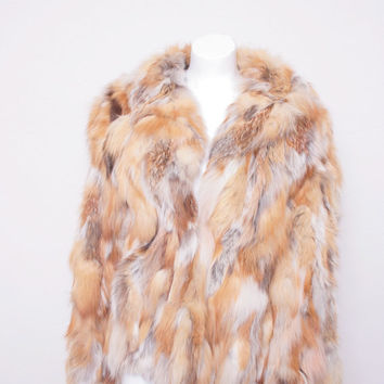 Vintage Multicolored Statement Winter Fur Coat, Very Kate Moss Rock Star