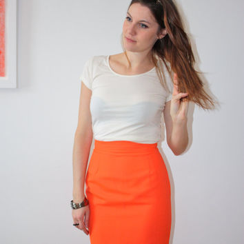 Beechers Brook vibrant orange vintage 80's pencil skirt, european size 2 (XS); gold button
