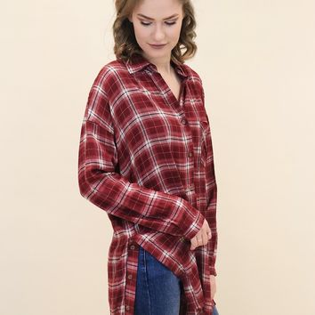 L/S Plaid Button Down Tunic