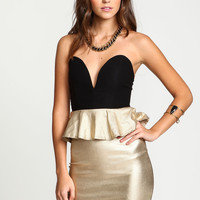 Gold Dust Plunge Peplum Dress