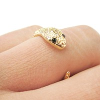 Tiny Baby Snake Hugging Your Finger Shaped Animal Ring in Gold | DOTOLY