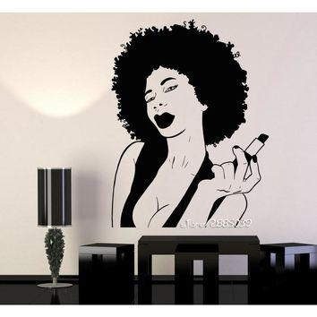 African American Woman/w Full Lips & Lipstick Vinyl Wall Decal