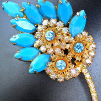 Juliana Turquoise Milk Glass Brooch, Rhinestones, Flower Motif, D&E Vintage