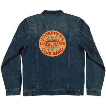 Beatles Men's  Sgt Pepper Denim Denim Jacket Blue
