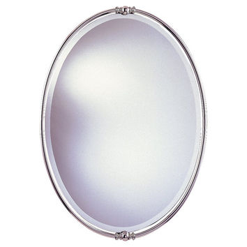 Polished Nickel Minimalist Oval Mirror   Overstock.com Shopping - The Best Deals on Mirrors