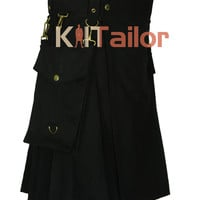 Black Detachable Utility kilt For Men's Custom Made
