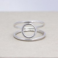 925 sterling silver circle stacking ring with double wire