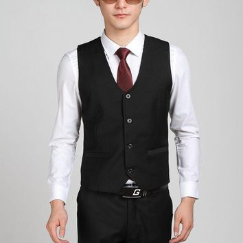 PEAPUNT Hot Selling Business Formal Black Suit Vest For Men Party Prom Vest Bestman Groom Wedding Vests Terno Colete Masculino