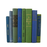 Blue and Green Vintage Books, S/8