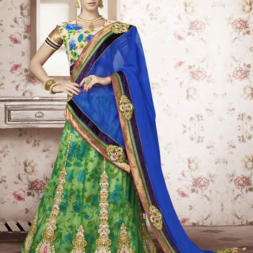 Women's Pretty A Line Lehenga Style in Parrot Green Color With Fancy Embellishments Work Dupatta