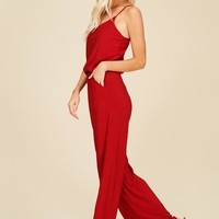 Racerback Knit Jumpsuit - Red