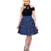 Blue & White Glow in the Dark Constellations Flare Skirt